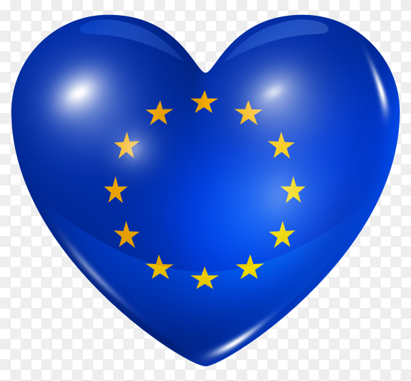 European flag in heart shape on transparent background PNG