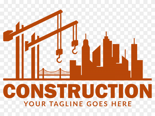 Excavator and construction logo on transparent background PNG