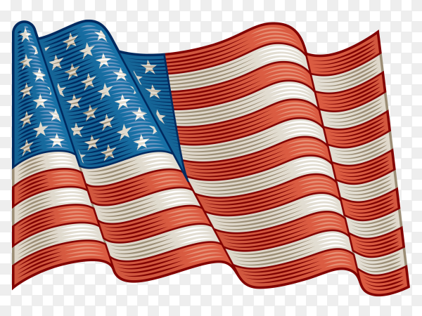 Flag Of USA on transparent background PNG