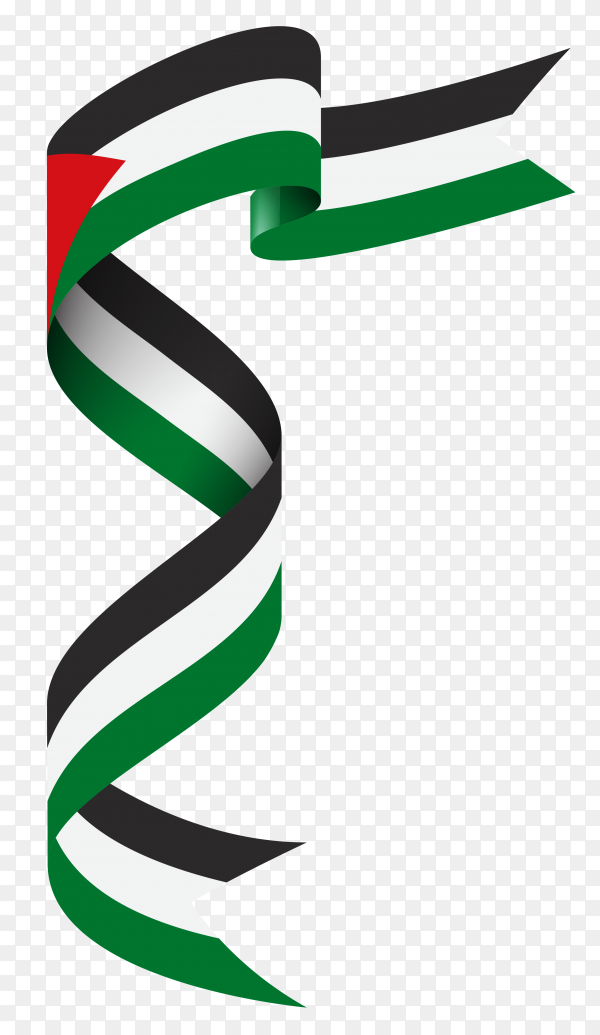 Flag of Palestine template on transparent background PNG