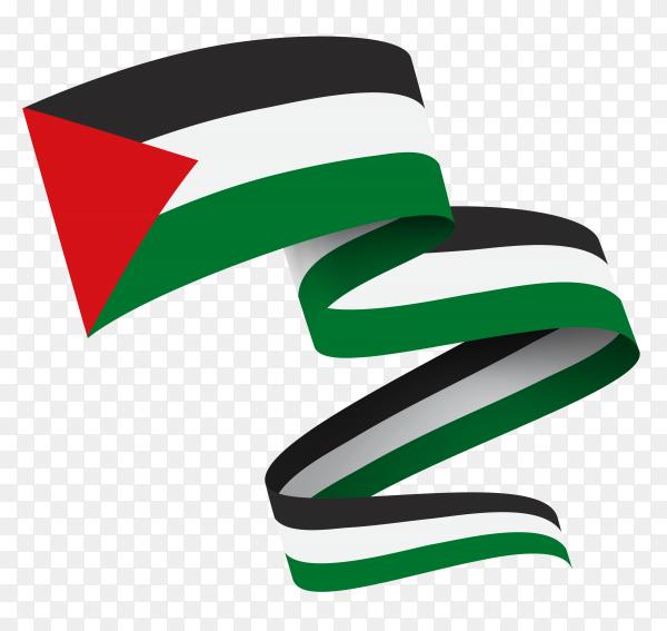 Flag of Palestine waving on transparent PNG