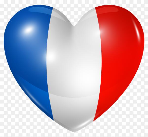 France flag in heart shape on transparent background PNG