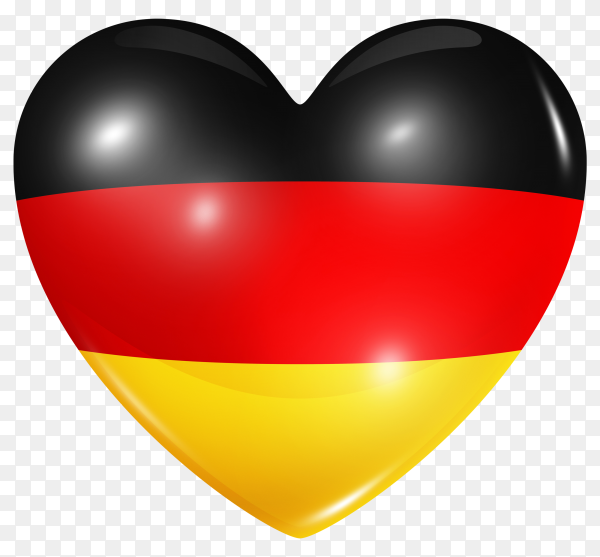 Germany flag in heart shape on transparent background PNG