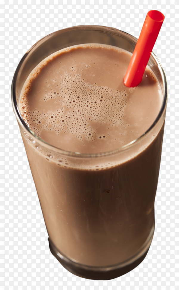 Glass of chocolate milk on transparent background PNG