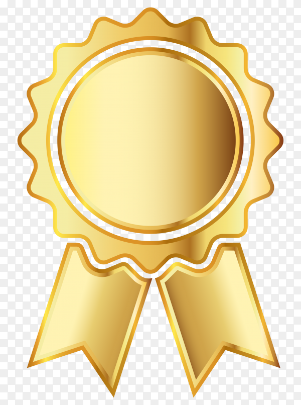 Golden medal icon with ribbon on transparent background PNG