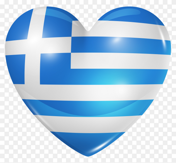 Greece flag in heart shape on transparent background PNG