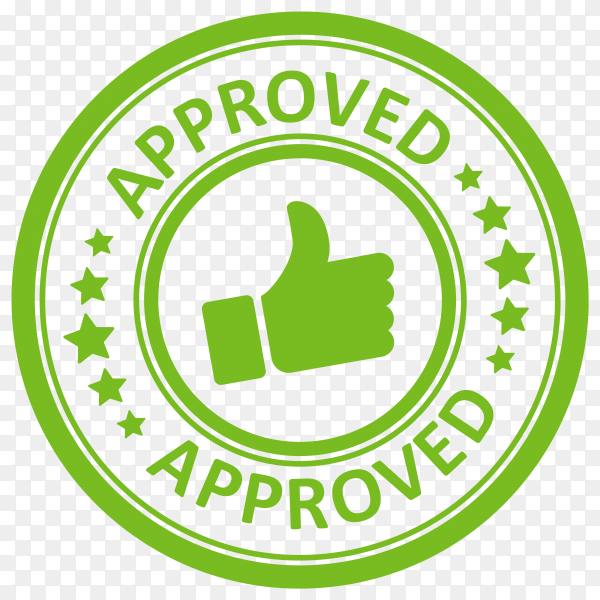 Green approved stamp with grunge on transparent background PNG
