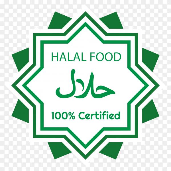 Halal food label on transparent background PNG