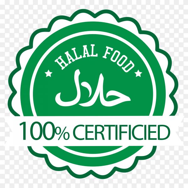 Halal stamp with flat design on transparent background PNG