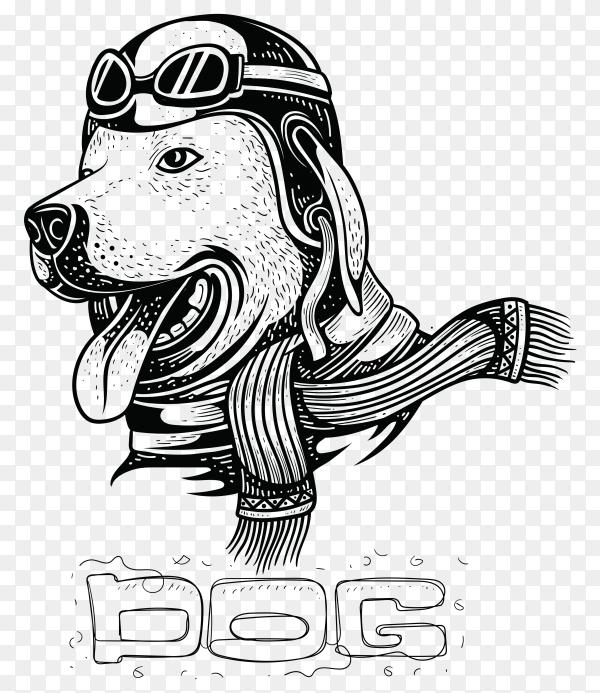 Hand drawn Dog wearing a helmet illustration on transparent background PNG