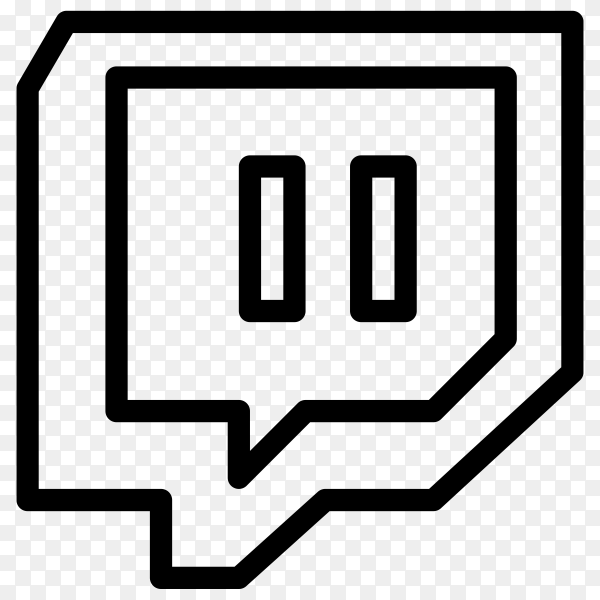 Hand drawn Twitch icon premium vector PNG