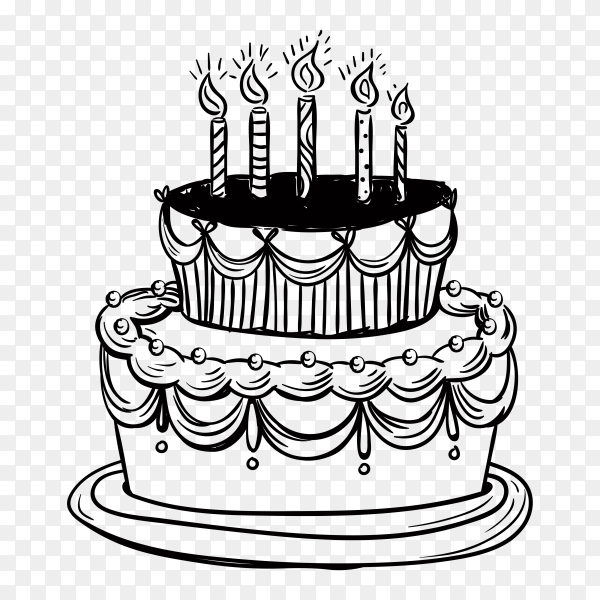 Hand drawn birthday cake on transparent background PNG