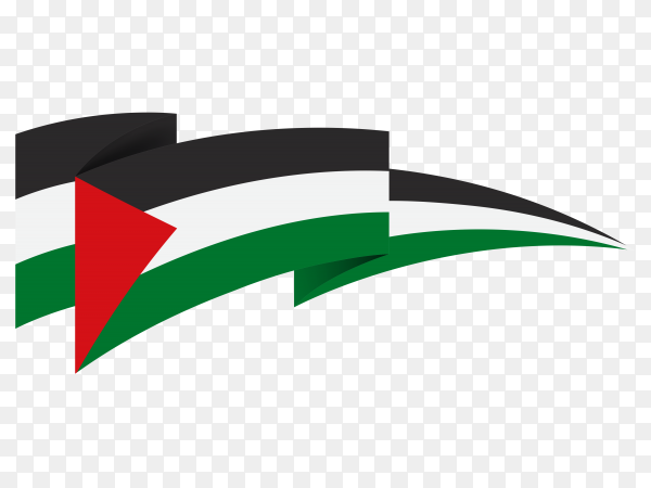 Hand drawn Palestine flag on transparent background PNG