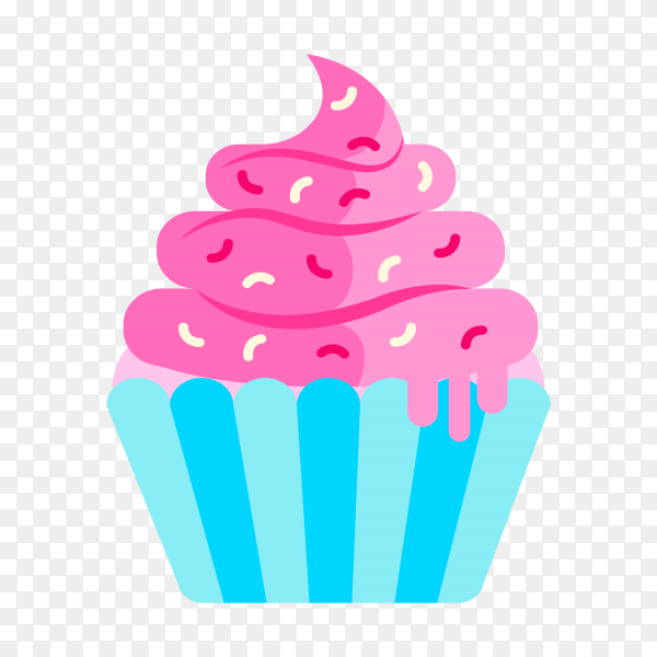 Hand drwan delicious cupcake on transparent background PNG