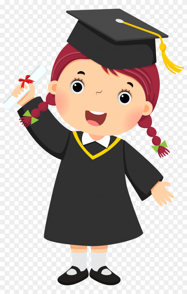 Happy Girl Graduation on transparent background PNG