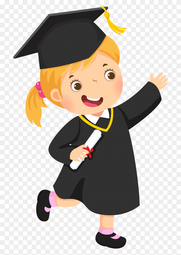 Happy kid graduation on transparent background PNG