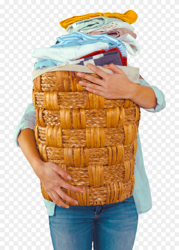 Housewife bringing a huge pile of laundry in basket on transparent background PNG