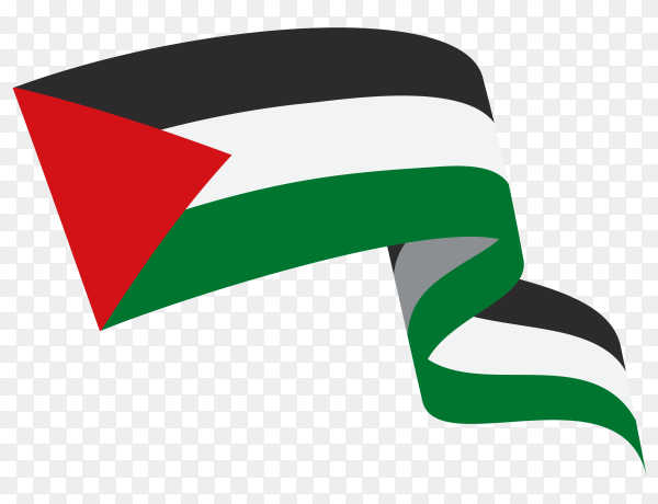 Illustration of Palestine flag waving on transparent background PNG