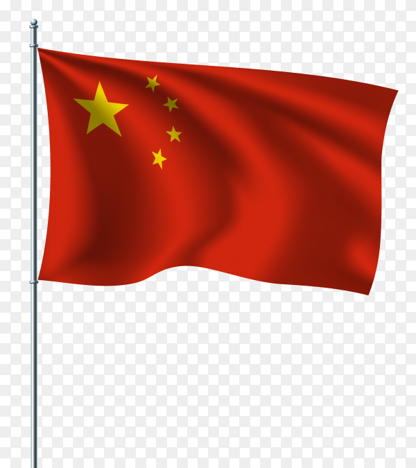 Illustration of the national flag of china on flagpole on transparent background PNG