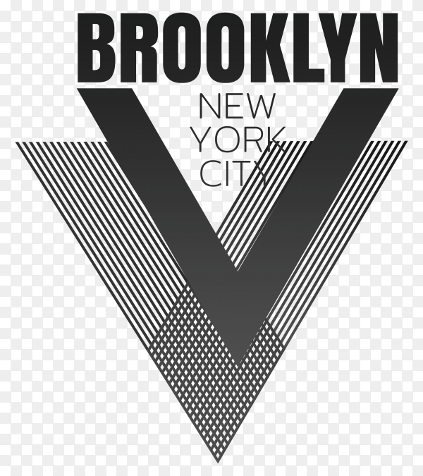 Illustration on the theme of New York City, Brooklyn. The Geometric design on transparent background PNG
