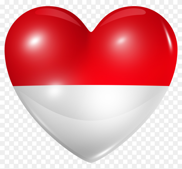 Indonesia flag in heart shape on transparent background PNG