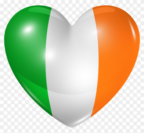 Ireland flag in heart shape on transparent background PNG