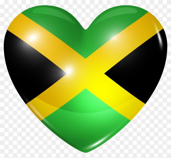 Jamaica flag in heart shape on transparent background PNG
