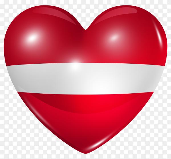 Latvia flag in heart shape on transparent background PNG