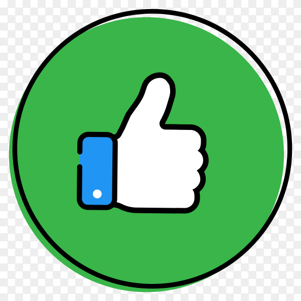 Like icon in green round design on transparent background PNG
