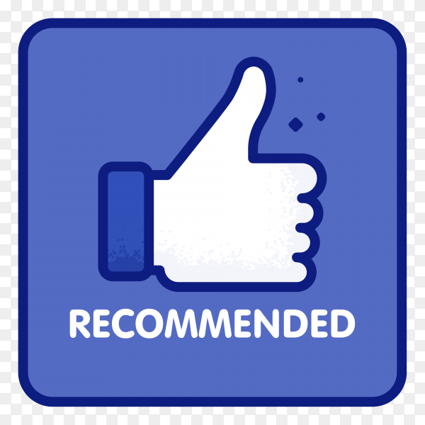 Line label recommended with thumb up on transparent background PNG