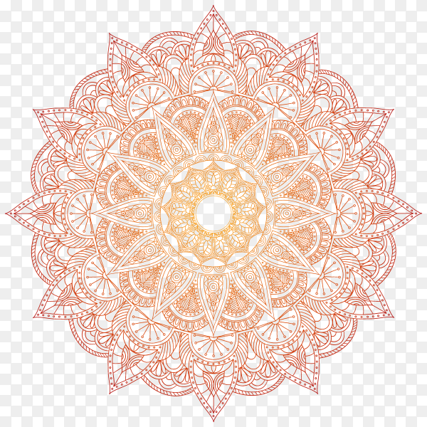 Luxury mandala in red color on transparent background PNG