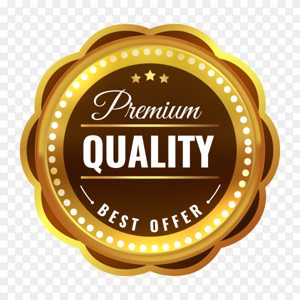 Luxury premium quality golden badge and label on transparent background PNG