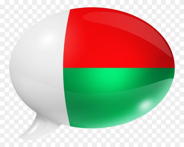 Madagascar flag shaped speech bubble on transparent PNG