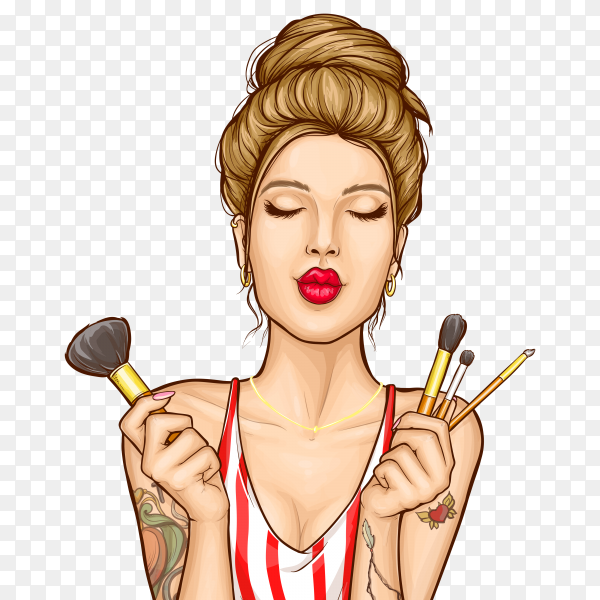 Makeup cosmetics ad illustration with fashion woman portrait on transparent background PNG