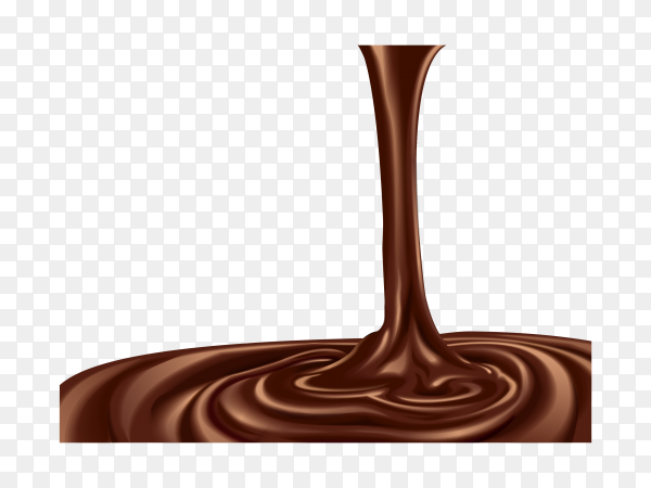 Melted chocolate is pouring on transparent background PNG