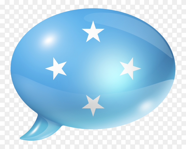 Micronesia flag – Federated States of Micronesia flag shaped speech bubble on transparent PNG