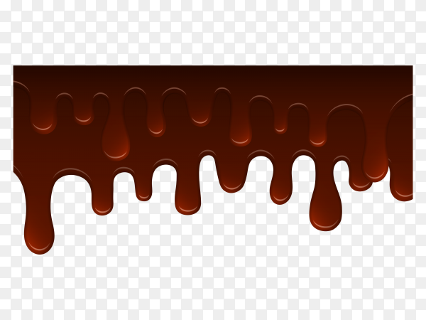 Milk chocolate drips on transparent background PNG