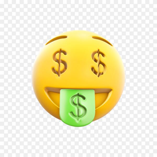 Money-Mouth Face Emoji on transparent background PNG