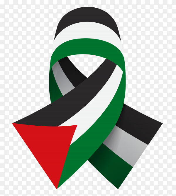 National flag of Palestine with ribbon on transparent background PNG