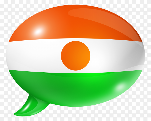 Niger flag shaped speech bubble on transparent background PNG
