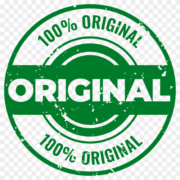 Original and certified quality rubber seal stamp on transparent background PNG