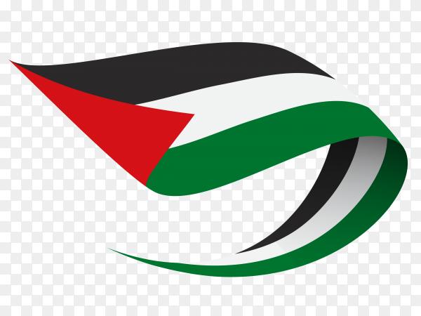 Palestine flag waving on transparent background PNG