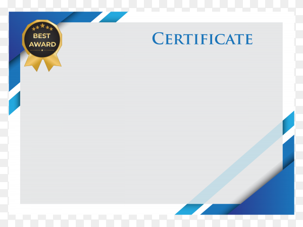 Professional blue business certificate on transparent background PNG
