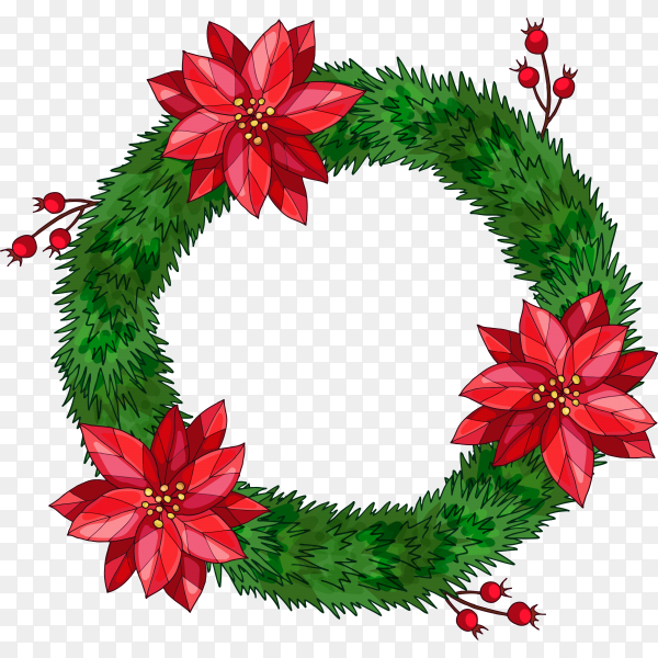 Realistic Christmas wreath concept  on transparent background PNG