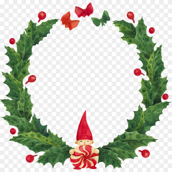 Realistic Christmas wreath template on transparent background PNG