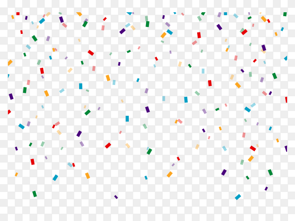 Realistic colorful confetti on transparent background PNG