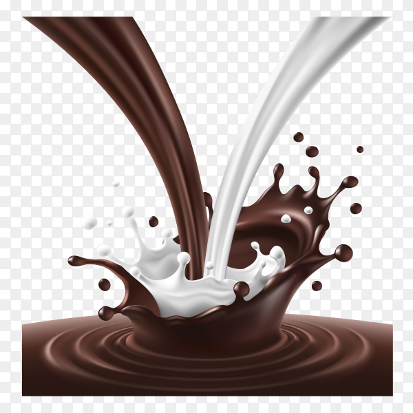Realistic splash and drops of melted milk and dark chocolate on transparent background PNG