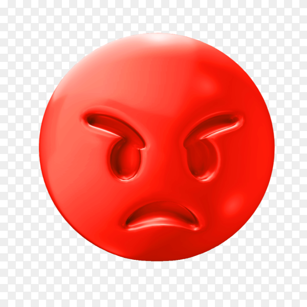 Red angry emoji face on transparent background PNG