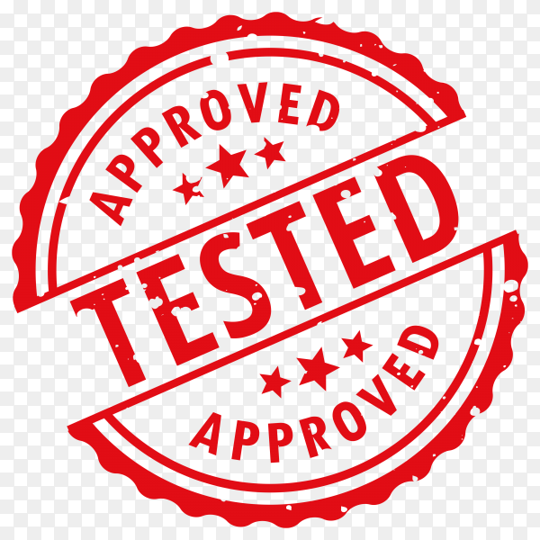 Red approved tested stamp on transparent background PNG