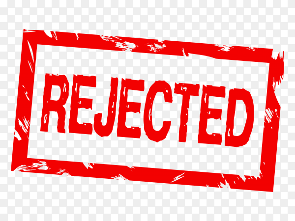 Rejected stamp isolated on transparent background PNG